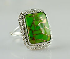 Green Copper Turquoise 925 Solid Sterling Silver Handmade Ring Size 3-14 (US)