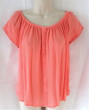 New Ladies Gypsy Top Coral Crinkle Summer Blouse Shirt UK Size 10 12 14 16 18 20