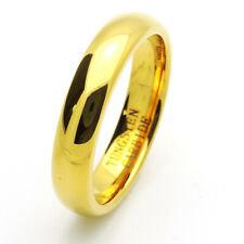 5MM Comfort Fit Tungsten Carbide Wedding Band High Polish Domed Gold Tone Ring