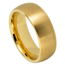 8MM Tungsten Carbide Wedding Band Domed Classic Brushed Gold Tone Ring