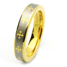 5MM Comfort Fit Tungsten Carbide Wedding Band Gold Tone Celtic Cross Ring