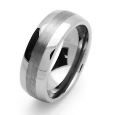 8MM Comfort Fit Tungsten Carbide Wedding Band Center Brushed Domed Ring