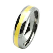 Men 6MM Tungsten Carbide Wedding Band Gold Tone Domed Ring Free Gift Box