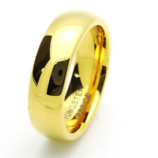 Men 7MM Comfort Fit Tungsten Carbide Wedding Band Polished Domed Gold Tone Ring