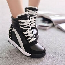 Women's Fashion Sneakers Shoes Rivet Hidden Wedge Top Chic Heel Shoes Wholesale