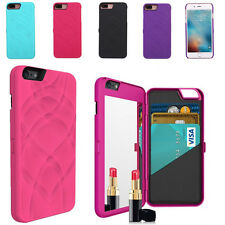 Flip Beauty Makeup Mirror Case With Card Holder Cover for iPhone 6 6S 7 7Plus