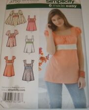 Simplicity Pattern 3750 Misses 8-24  Empire Boho Tunic Pullover Top  UC