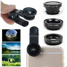 3in1 Fish Eye+Wide Angle+Macro Camera Clip-on Lens for Samsung, iPhone, LG