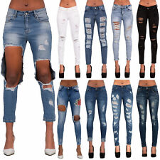 Womens Blue Ripped Skinny Jeans Ladies Jeggings Slim Fit Denim Size 6 8 10 12 14
