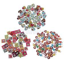 50pcs Mixed Printing Pattern Wooden Buttons Scrapbooking Sewing DIY Crafts Decor