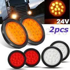 2x 4'' White Amber Red 12 LED 24V Round Truck Trailer Stop Turn Tail Light Lamp