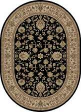 BLACK traditional PERSIAN formal FLORAL area RUG oriental IVORY bordered CARPET