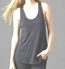 BNWT $98 EILEEN FISHER Linen Jersey INK Navy Racerback Long Tank Top XS