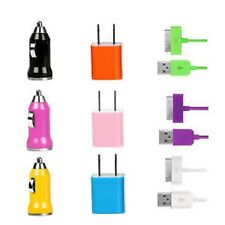 NEW USB Wall & Car Chager & Data Cable |Phone 4S 4 4G 3G |Pod |Pad Choose Color