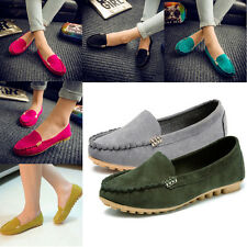 Womens Ladies Round Buckle Ballerina Low Flats Loafers Moccasins  Work Shoes