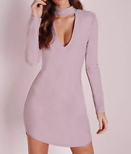 MISSGUIDED CREPE CURVE HEM CUT OUT BODYCON DRESS (M11/8)