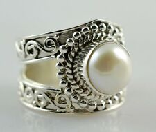 Fresh Water Pearl Silver Ring 925 Solid Sterling Silver Jewelry Size 4-13 US
