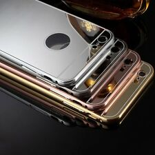 Ultra-thin Aluminum Mirror Metal Case + Tempered Glass Film + Stylus For iphone