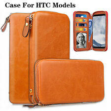 Brown Zip Wallet Magnetic Leather Cover Flip Phone Wallet Case For HTC phones