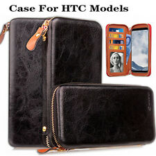 Black Zip Wallet Magnetic Leather Cover Flip Phone Wallet Case For HTC phones