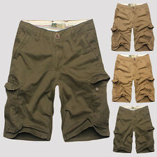 Mens Fashion Short Pants Cargo Pants Military Army Pockets Shorts Zipper Button