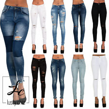 WOMENS LADIES RIPPED KNEE CUT FADED FRAYED SKINNY JEANS SLIM FIT DENIM SIZE 6-16