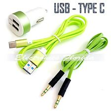 Car Charger + 3Ft Braided Cord Cable USB Type-C + Audio Cable Top Quality Green