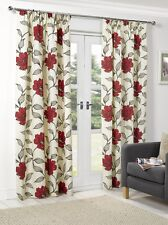 Curtains Red Ready Made Tape Top Pencil Pleat Lined  Flowery Floral Print New