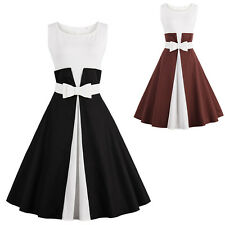 2017 Womens Colorblock Sleeveless Vintage Classical Casual Swing Dress with Blet