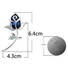 Gift Clothing Rose Flower Crystal jewelry Brooches Brooch 1Pcs Alloy Rhinestone