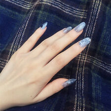 YuNail Stiletto Fake Nails Marble 24x Pink Blue Long Nails with Adhesive Sticker