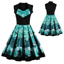 Women's Audrey Hepburn 1950s Vintage Rockabilly Swing Dress Print Casual Dress