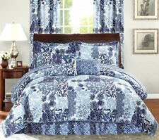 Queen Cal King Bed Navy Blue Floral Patchwork 6 pc Quilt Set Coverlet Bedding