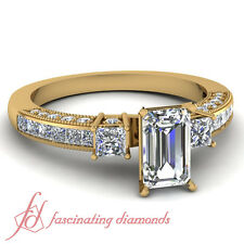 1.25 Carat Emerald Cut Yellow Gold VVS1 Clarity Big Diamond Engagement Ring GIA