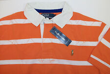 Polo Ralph Lauren Quilted Striped SS Rugby Shirt $89.50 Orange White w/ Pony NWT