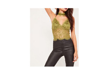 MISSGUIDED choker neck corded lace crop top olive (M13/26)
