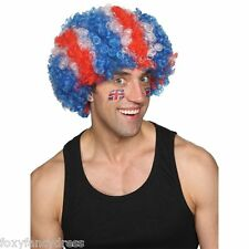 GB Union Jack Blue/White/Red Afro Fancy Dress Wig Olympics Sports Football