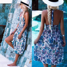 Summer Women Halter Floral Boho Bohemian Long Maxi Dress Beach Dresses Sundress