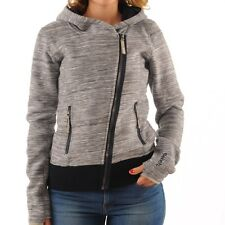 Bench Dissymetric Zip Through Hoody Cardigan grey blue Hooded Hooded jacket