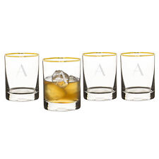 Mint Pantry Winton Personalized Gold Rim 11 oz. Old Fashioned Glass Set of 4