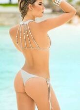 Mapale Fun and Sexy Silver Beaded Halter Top and Side Tie Thong Bottom Bikini Se
