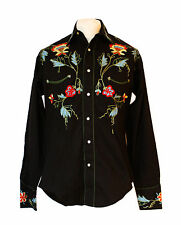 Rockmount Black Floral Embroidered Western Cowboy Shirt