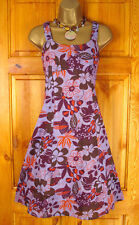 NEW EX MONSOON LADIES LILAC BROWN FLORAL COTTON SUMMER SUN DRESS UK SIZE 8 - 16