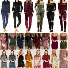 Womens Crushed Velvet Tracksuits Bodysuit Casual Jumpsuit Leotard Tops Dresses