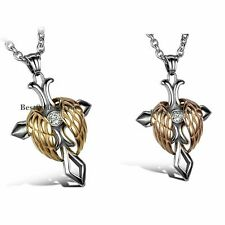 Stainless Steel Angel Wing Gothic Cross Mens Womens Pendant Necklace Jewelry