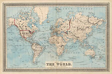 1876  Map Of The World on Mercator's Projection History Wall Art Poster Decor