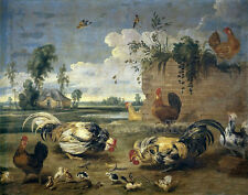 """Oil Painting Frans Snyders Lucha Gallos Cockfighting Gamecock Cocks Chicks 36"""""""