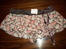 NWT CABERNET NYLON SPNDX FLIRT SKIRT THONG PANTIES PANTY 4225 BROWN FLORAL S