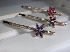 New!! Lovely Crystal Colorful Flower Bow Butterfly Hair Clip