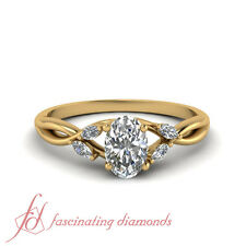 1 Karat Oval Shaped Diamond Split Shank Engagement Ring In 18K Yellow Gold GIA
